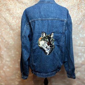 Vintage Wolf Embroidered Denim Jacket
